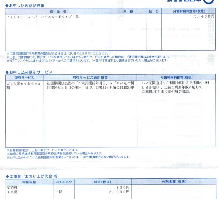 NTT西日本フレッツ光の申し込み